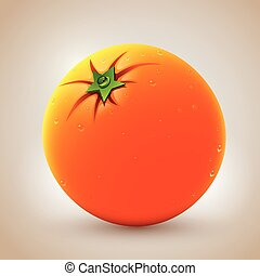 sinaasappel, realistisch, waterdrops., fris