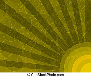sinaasappel, retro, cirkels, met, stralen, achtergrond