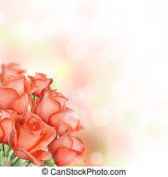sinaasappel, rozen, bouquetten, met, kosteloos, ruimte, voor, tekst