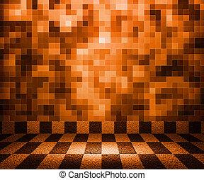 sinaasappel, schaakbord, mozaïek, kamer, achtergrond