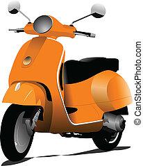 sinaasappel, scooter., stad, vector