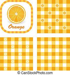 sinaasappel, seamless, gingham, motieven