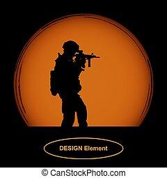 sinaasappel, soldaat, schijf, geweer, achtergrond