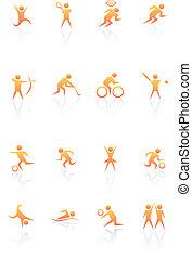 sinaasappel, sporten, figuren, pictogram