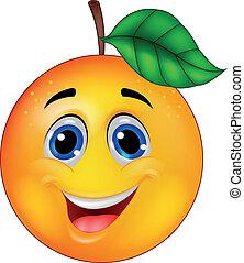 sinaasappel, spotprent, karakter