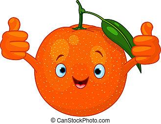 sinaasappel, spotprent, vrolijk, karakter