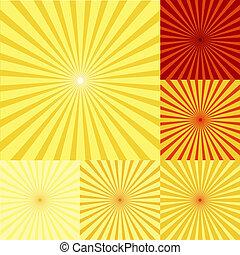 sinaasappel, twirls, set, gele, rood