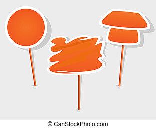 sinaasappel, vector, stok, etiket