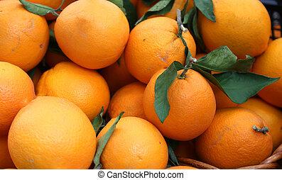 sinaasappel, volle, van, vitamine c, te koop, op, de, markt