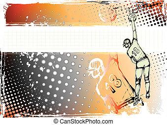 sinaasappel, volleybal, achtergrond