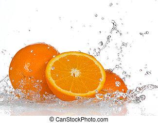 sinaasappel, water, het bespaten, vruchten