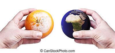 sinaasappel, wereld, rot, holdingshanden