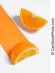 sinaasappel, witte achtergrond, schijfen