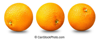 sinaasappel, witte , fruit, vrijstaand, verzameling