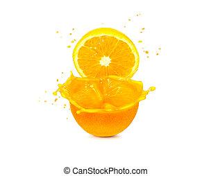 sinaasappel, witte , gespetter, vrijstaand, achtergrond