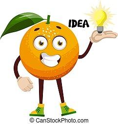 sinaasappel, witte , illustratie, idee, vector, achtergrond.