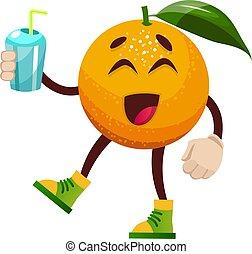 sinaasappel, witte , illustratie, water, vector, achtergrond.