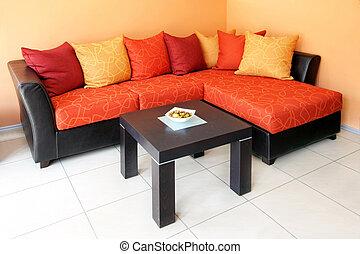 sinaasappel, zittende , gebied