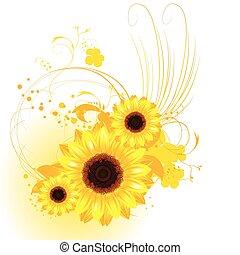 sinaasappel, zonnebloemen, achtergrond