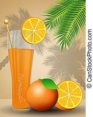 sinaasappelsap, voor, summertime