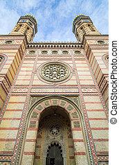 sinagoga, dohany, rua, exterior, budapest, hungary.