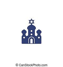 sinagoga, vector, icono, arte