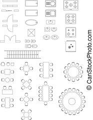 sinais, arquitetura, planos, ícones