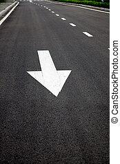 sinais, asphalted, superfície, estrada, setas