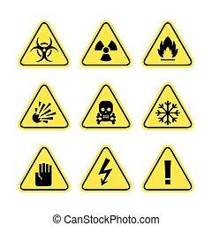 sinais, aviso, perigo