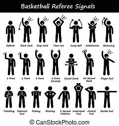 sinais, basquetebol, árbitros, mão