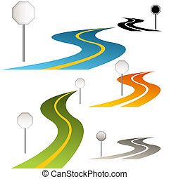 sinais, com, curvando estrada