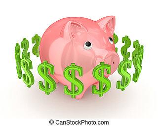sinais dólar, ao redor, piggy cor-de-rosa, bank.
