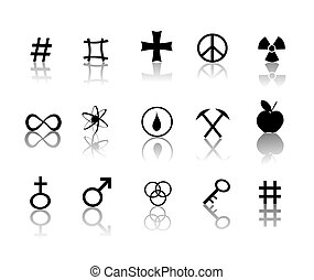 sinais, e, símbolos, ícones, jogo