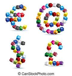 sinais, e, símbolos, feito, de, blocos coloridos