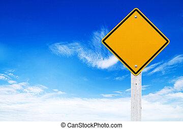 sinais estrada, em branco, amarela, aviso, com, céu, fundo,...
