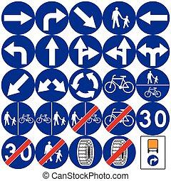 sinais estrada, em, poland., mandatory, signs., vetorial,...