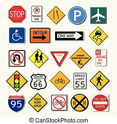 sinais estrada, ilustração
