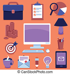 sinais, freelance, vetorial, ícones negócio