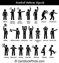 sinais, futebol americano futebol, árbitros