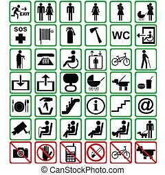 sinais, internacional, usado, transporte, meios
