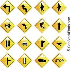 sinais, jogo, estrada, ícones