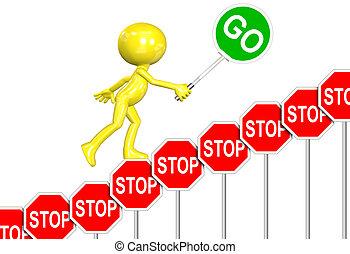 sinais parada, ir, sinal, progresso, 3d, homem, caricatura