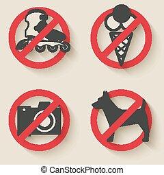 sinais, proibido, ícones