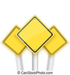 sinais, sinal parada, realístico, vetorial, vermelho, v, obscurecido, estrada, behind.