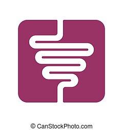 sinal., área, símbolo., ilustração, vetorial, intestinos, human, entranha, icon., digestivo