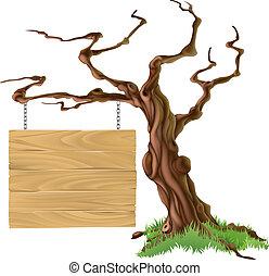 sinal, árvore, ilustração