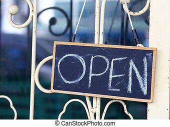 sinal aberto, largo, ligado, loja, porta