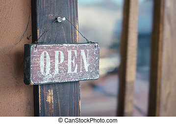 sinal aberto, ligado, porta
