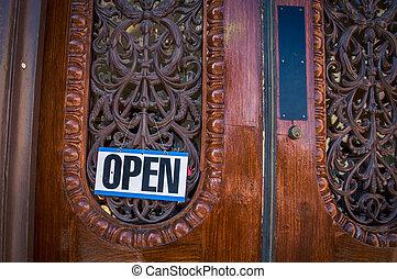 sinal aberto, ligado, um, porta madeira