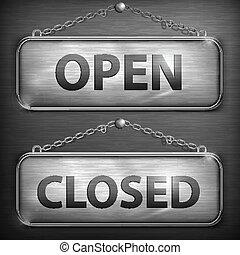 sinal, abertos, ferro, fechado, penduradas